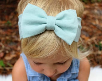 aloe mist knit bow headband