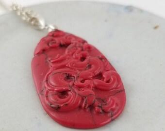 Vintage carved coral necklace sterling silver necklace coral pendant necklace vintage necklace teardrop necklace OG2256