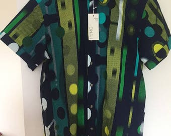 Geometric and strippy wax fabric  short sleeve shirt