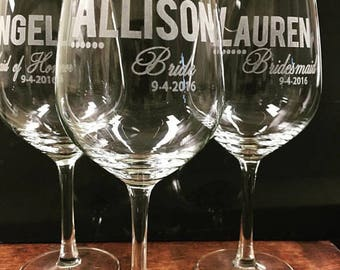 Personalized Wedding Glasses, 7 Etched Wine Glasses, Bridal Shower, Bridesmaids Gift, Bridesmaids Gift Ideas, Etched Wine glass, Custom Wine