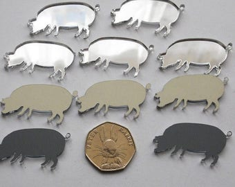 Farm Yard Pig Mini Craft Sized Acrylic Mirrors (10Pk)