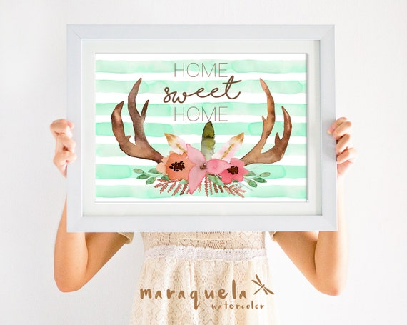 WATERCOLOR ANTLERS flowers and stripes,deer skull,animals,tribal wall art,boho style,indian,tribal nursery art,woman decor,home sweet home