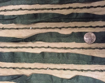 Olive Burnout Stripe Spandex Novelty Mesh Stretch Fabric by the yard