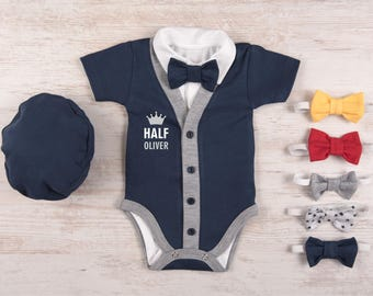 HALF BIRTHDAY BOY Outfit, Personalized Short Sleeve Navy Cardigan, Bodysuit, Hat & Bow Tie Set, Half Birthday Outfit, Baby Boy Half Birthday