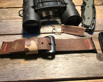 Apple Watch Leather Strap Band Camouflage Keeper 42mm, 38mm Men or Women