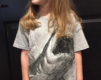 SHARK Tee - GREY - Kid's Illustration Tee - Animal Art - Holiday Gift - David Colman Original