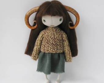Ooak art doll faun with horns whimsical horned doll fantasy linen rag doll forest fairy wire doll