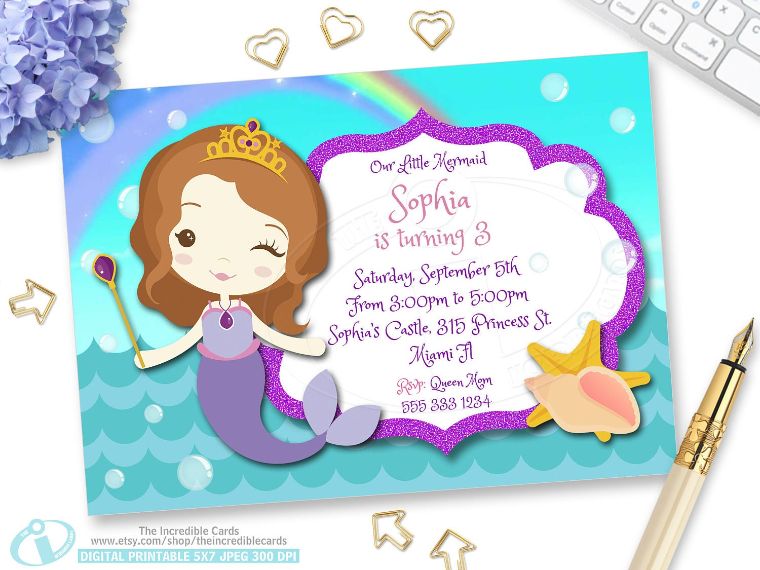OFF SALE Princess Sofia Mermaid, Princess Sofia Birthday Invitation ...