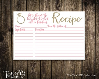 Printable Recipe Card - TAYLOR Collection - Gold Glitter Recipe Card - Bridal Shower Recipe Card