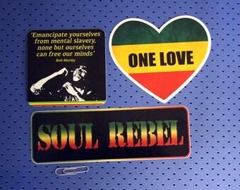 Bob Marley Rasta Bumper Sticker Set