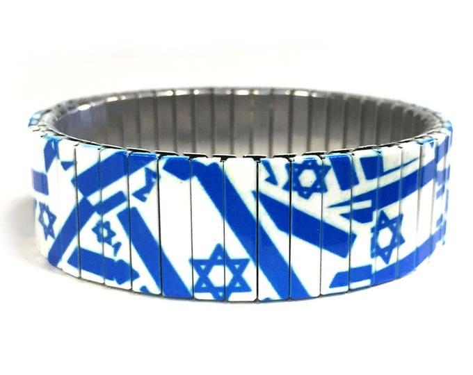 Flag of Israel bracelet, Israel, Stretch Bracelet, Repurpose Watchband, Sublimation, Stainless Steel, gift for friends