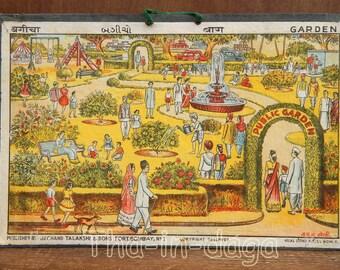 Lithograph Scene of life 1900 garden Garden 38 x 25, 5cm old cardboard India 10
