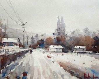 Winter Scene Original Watercolor Painting