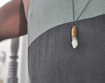 Bullet necklace Crystal with  bullet Bullet pendant Crystal pendant Real bullet necklace Necklace with bullet Necklace from bullet