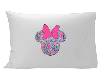 Lilly Pulitzer inspired Minnie Mouse Pillow Case / Lilly Pulitzer Pillowcase / Disney Pillowcase / Disney bedding / Lilly Pulitzer bedding