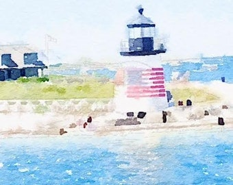 Nantucket Lighthouse, Note Card, Photograph, Watercolor, Greeting Card, Blank Inside, Customizable