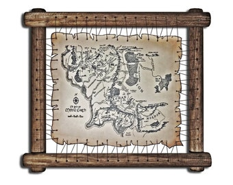 Lord Of The Rings leather Map The Hobbit Map Tolkien Map Middle Earth Map Fantasy Map Unexpected Journey Gandalf Frodo Map Bilbo Map Print