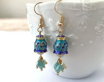 Vintage Inspired Cloisonne Enamel Crystal Beads Hook Earrings Dangel Earrings Drop Earrings