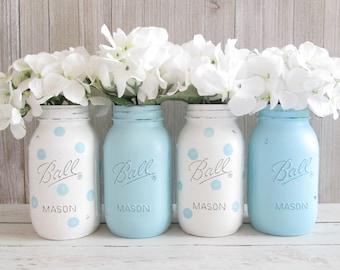 Baby Shower Centerpieces - Light Blue Mason Jars - Polka Dot Mason Jars - Mason Jar Decor - Quart Ball Jars - Blue and White Baby Shower