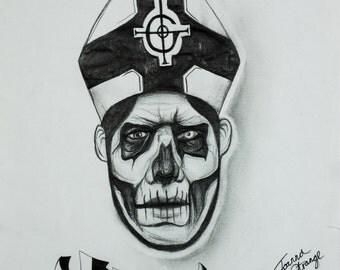 Papa Emeritus Ghost BC drawing art print by Joanna Strange
