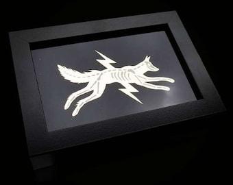Golden 'Electric Fox'  - Reverse Gold Leaf Gilding / Gilded on Glass