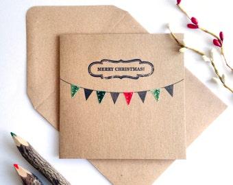 Bunting Letterpress Christmas Card