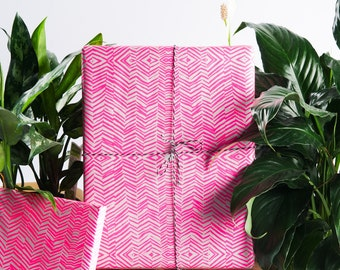 Neon Pink Gift Wrap / 3 Sheets