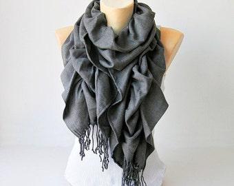 Foulard, écharpe à volants, écharpe à volants Pashmina, longue écharpe, en gris foncé - Choisissez votre couleur