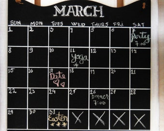 Chalkboard Calendar -- Large Monthly Planner -- Rewritable, Erasable Blackboard Organizer Chalk Board with Jute Rope