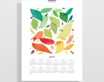 2017 Wall Calendar, Large Calendar, Modern Art Calendar, Office Wall Art, Gift for Her, Teacher Gift, Gift for Him, Foliage