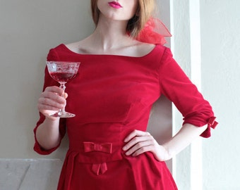 Vintage Red Velvet Dress HOLIDAY SALE Sweet Satin BOW Rockabilly Pin Up Party Frock 50s Retro Re-vamp punk glam Woman Extra Small Size Dress