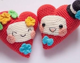 PATTERN -Fanny Hearts - crochet pattern, amigurumi pattern, Valentine's Day Decor, pdf - Instant Download