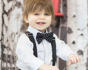 pretie bowtie and suspenders black polka dot adjustable baby to kid for smash the cake wedding church christening photo prop photo shoot