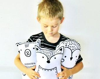 Fox Organic Hand Printed Soft Cuddle Toy / Softie / Cushion / Pillow / Handmade / Babee and Me