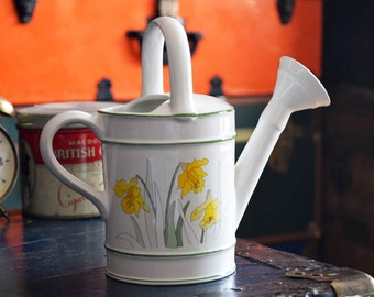 "Ceramic Watering Can - 1983 - Made in Portugal - ""Daffodils"" - Flowers and Plants - Vintage Water Jug Container - Spring Season Bloom"