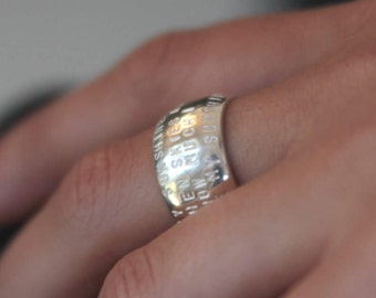 FAMILY NAMES RING Personalized with hand stamped engraving.