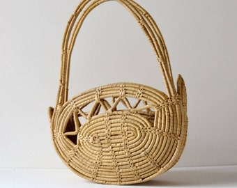 Woven wicker magazine holder, 1960's wicker bag ideal to use as magazine holder for a bohemian twist to a modern room.