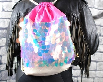 ANGELICA backpack, iridescent sequins. Pearlescent quilted pleather.