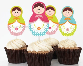 Matryoshka Party - Cupcake toppers - Babushka Party - Russian Doll - INSTANT DOWNLOAD - Printable PDF