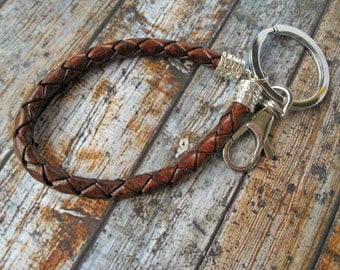 Leather keychain / Braided leather keychain / Metal keychain / Mens key chain / Gift for him