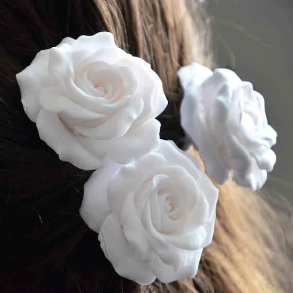 rose hair pinslarge flower hair pinsrose hair accessories white rose hair flower white rose hair pinswedding bridal hair pins