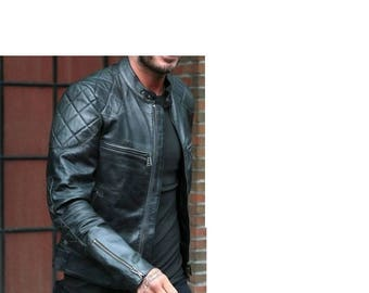 Leather bomber jacket size XL