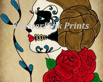 Canvas/Wood - Princess Leia Day of the Dead Tattoo Flash Print