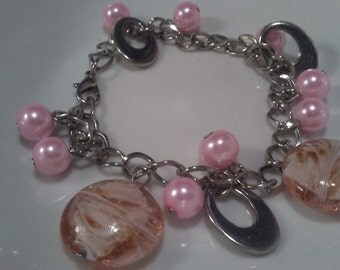 Pink Lampwork Glass Bracelet, Beaded Charm Bracelet, pink Glass Pearls