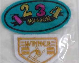 """2 Patches/Appliques/""""1234 Million"""" 1.75"""" By 2.5' And """"Winner"""" 1.75"""" By 1.25""""/Free Shipping Within The Cont, USA"""
