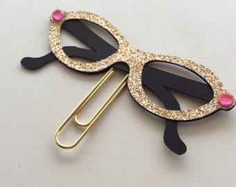 Planner glasses, Paper Clip, Gold Planner Girl Glasses, Diva Nerd Glasses Planner Clips, Glitter glasses,decorative paper clip bookmark