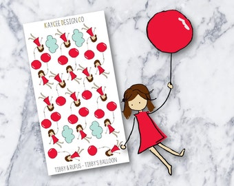 Tibby & Rufus - Tibby's Balloon / Planner Stickers / Hand Drawn / Doodle / Fits Erin Condren and MAMBI / Filofax / Kikki K / Scrapbook