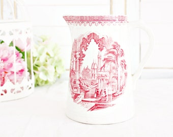 Vintage Furnival Castle Scenery Pitcher: Vintage Pitcher, English Transferware Pitcher, Red Transferware Pitcher, Red Pitcher