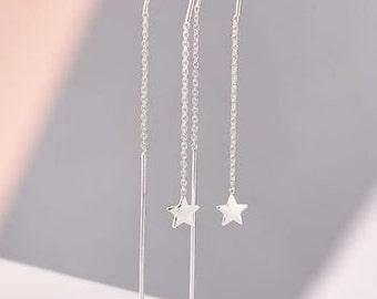 Super Star Chain Earrings in Silver