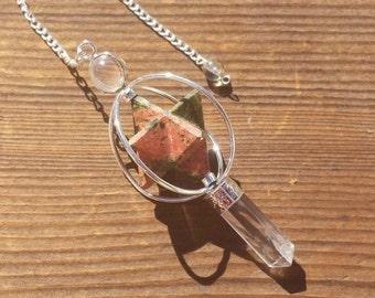 Natural UNAKITE Gemstone 3 Stone Merkaba Spinning Star Faceted Pendulum